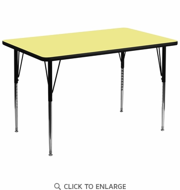 36''W x 72''L Rectangular Activity Table with Yellow Thermal Fused Laminate Top and Standard Height Adjustable Legs