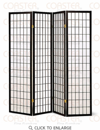 4 Panel Black Folding Screen / Room Divider by Coaster - 4624