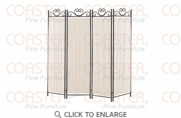 4 Panel Black Wrought Iron Room Dividers by Coaster Furniture - 2710
