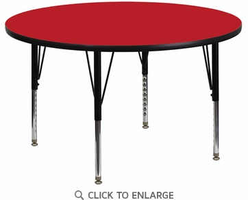 42'' Round Activity Table with 1.25'' Thick High Pressure Red Laminate Top and Height Adjustable Preschool Legs