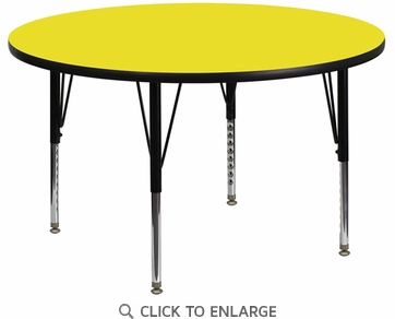 42'' Round Activity Table with 1.25'' Thick High Pressure Yellow Laminate Top and Height Adjustable Preschool Legs