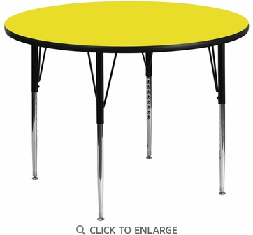 42'' Round Activity Table with 1.25'' Thick High Pressure Yellow Laminate Top and Standard Height Adjustable Legs