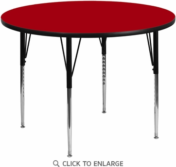 42'' Round Activity Table with Red Thermal Fused Laminate Top and Standard Height Adjustable Legs