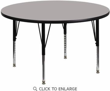 48'' Round Activity Table with 1.25'' Thick High Pressure Grey Laminate Top and Height Adjustable Preschool Legs