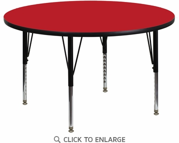 48'' Round Activity Table with 1.25'' Thick High Pressure Red Laminate Top and Height Adjustable Preschool Legs