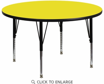 48'' Round Activity Table with 1.25'' Thick High Pressure Yellow Laminate Top and Height Adjustable Preschool Legs