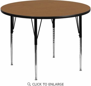 48'' Round Activity Table with Oak Thermal Fused Laminate Top and Standard Height Adjustable Legs