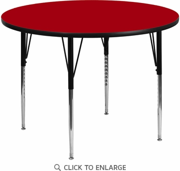 48'' Round Activity Table with Red Thermal Fused Laminate Top and Standard Height Adjustable Legs