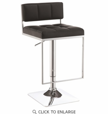 Adjustable Chrome and Black Low Back Bar Stool with Footrest by Coaster 100194