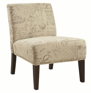 Armless Accent Chair with Vintage French Script Pattern by Coaster 902055