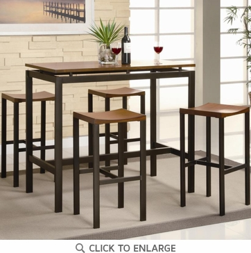 Atlus 5 Piece Counter Height Black Metal and Oak Dining Table Set by Coaster 150097