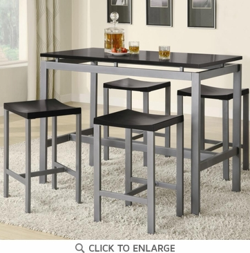 Atlus 5 Piece Counter Height Silver Metal and Black Dining Table Set by Coaster 150095