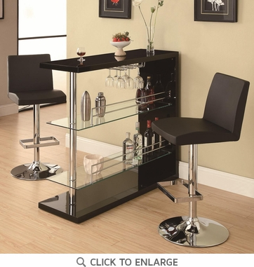 Bar Table Set in Gloss Black Finish with 2 Bar Stool by Coaster 100165-120357