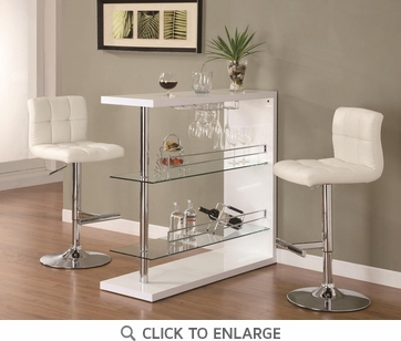 Bar Table Set in Gloss White Finish with 2 Bar Stool by Coaster 100167-120356