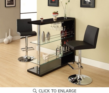 Bar Table with Glass Shelves in Gloss Black Finish by Coaster 100165