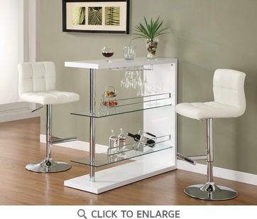 Bar Table with Glass Shelves in Gloss White Finish by Coaster 100167