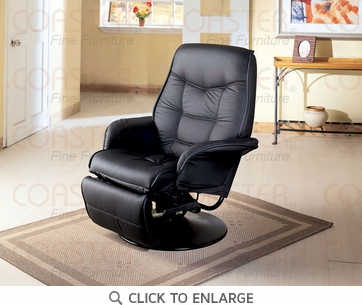 Berri Leatherette Swivel Chaise Recliner in Black by Coaster - 7501