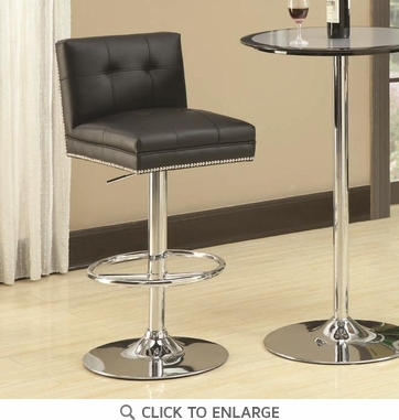 Black and Chrome Adjustable Bar Stool Chair by Coaster 102552