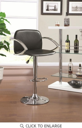 Black and Chrome Adjustable Bar Stool Chair with Chrome Arms by Coaster 122093
