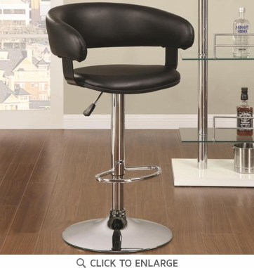 Black and Chrome Adjustable Round Back Bar Stool Chair by Coaster 122094