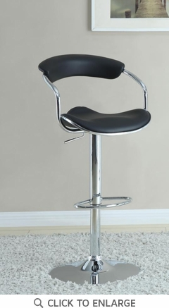 Black and Chrome Adjustable Swivel Bar Stool Chair by Coaster 120386 - Set of 2