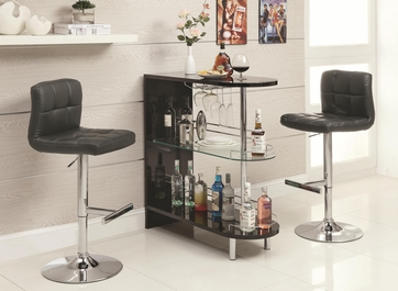 Black Bar Table Set with Adjustable Bar Stool Chair by Coaster 101063-102554