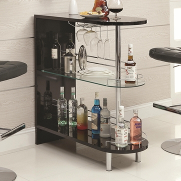 Black Bar Table with Wine Glass Holder and Glass Shelf by Coaster 101063