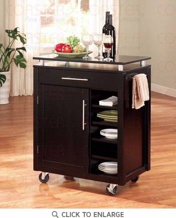 Black Compact Kitchen Island Cart by Coaster - 910012
