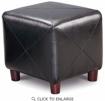 Black Faux Leather Cube Ottoman Footstool by Coaster - 500124