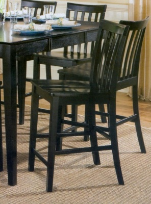 Pines Black Finish Counter Height Slat Back Barstool (Set of 2) by Coaster - 101039BLK