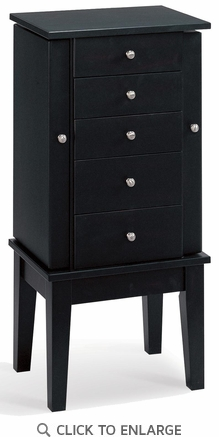 Black Finish Jewelry Armoire Lingerie Chest by Coaster