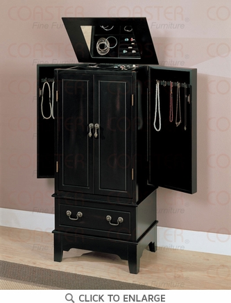 Black Jewelry Armoire Lingerie Chest by Coaster