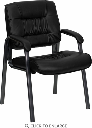 Black Leather Executive Side Chair with Titanium Frame Finish [BT-1404-BKGY-GG]