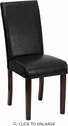 Black Leather Upholstered Parsons Chair [BT-350-BK-LEA-023-GG]