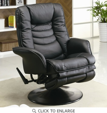 Black Leatherette Swivel Chaise Recliner by Coaster - 600229