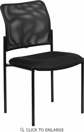 Black Mesh Comfortable Stackable Steel Side Chair [GO-515-2-GG]