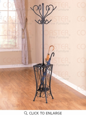 Black Metal Coat Rack Hall Tree with Umbrella Stand by Coaster - 900019