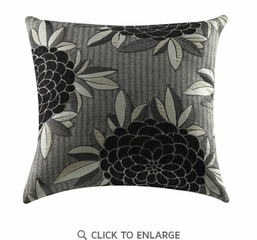 Black White and Gray Flower Pattern Accent Pillow by Coaster 905014 - Set of Two