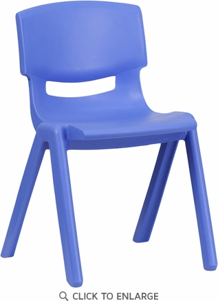 Blue Plastic Stackable School Chair with 13.25'' Seat Height [YU-YCX-004-BLUE-GG]