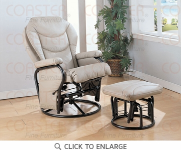 Bone Leatherette Glider Recliner with Ottoman by Coaster - 7040