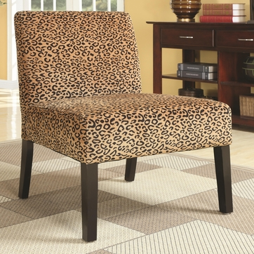 Brown Accent Lounge Chair with a Leopard Print Pattern by Coaster 900184