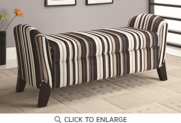 Brown and Black Striped Microvelvet Fabric Storage Bench by Coaster 500950