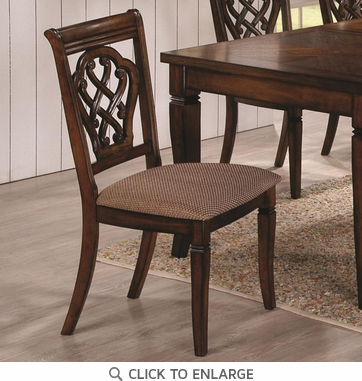 Brown Dining Chairs with Decorative Seat Back 103392 - Set of 2