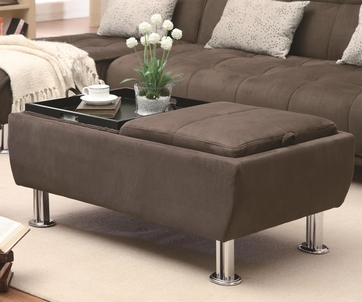 Brown Fabric Storage Ottoman with Flip-Over Serving Trays by Coaster 300278
