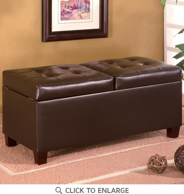 Brown Faux Leather Storage Ottoman Bench by Coaster - 501039