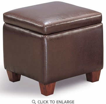 Brown Faux Leather Storage Ottoman Footstool by Coaster - 500903