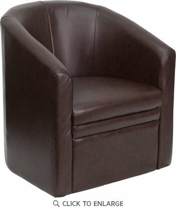 Brown Leather Barrel-Shaped Guest Chair [GO-S-03-BN-FULL-GG]