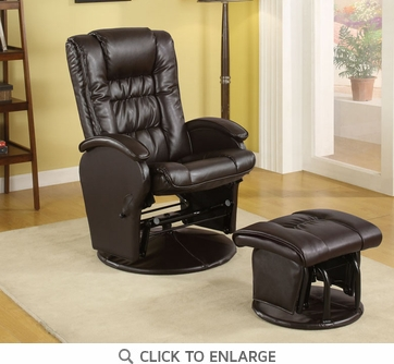 Brown Leather Like Vinyl Glider Recliner with Ottoman by Coaster - 600164