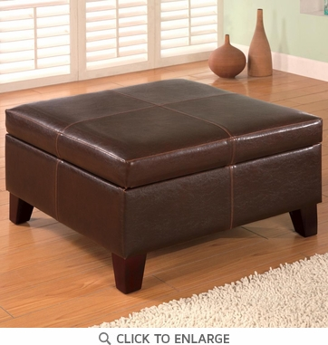 Brown Square Faux Leather Storage Ottoman Bench by Coaster - 501042