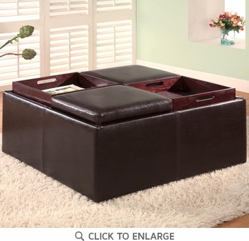 Brown Square Faux Leather Storage Ottoman Bench by Coaster - 501043
